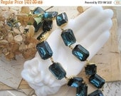 """ON SALE Navy blue statement necklace, Anna Wintour necklace, Sacred Cake, Art Deco jewelry. """"Montana Morning"""""""