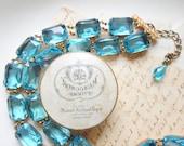 "ON SALE Anna Wintour necklace, collet, aquamarine statement necklace, aqua statement necklaces, aqua rhinestone choker, Georgian. ""Resplende"