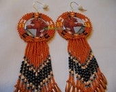 Native American Style rosette beaded Horse earrings