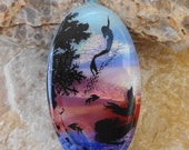Oval Dichroic Pendant, Beach Jewelry, Mermaids on Dichroic Glass, Landscape Pendant, Scenic Glass Pendant, Fused Glass Jewelry, Ocean
