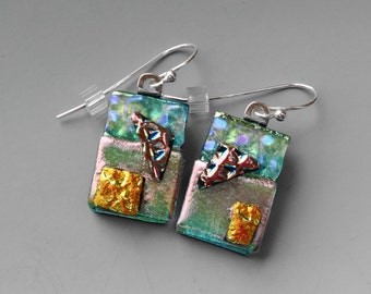 Green, Pink and Copper Glass Earrings, Fused Glass Dangle Earrings,  Dichroic Glass Earrings, Dichroic Fused Glass French Hooks