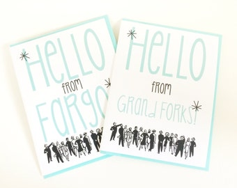 Retro Hello from Your City or State Card. Customized. Card for Best Friend. State Pride Card. Gift Shop Card.