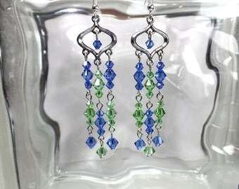 Swarovski Blue and Green Crystal Chandelier Earrings-Prom-Gift-Sparkly-Dangly