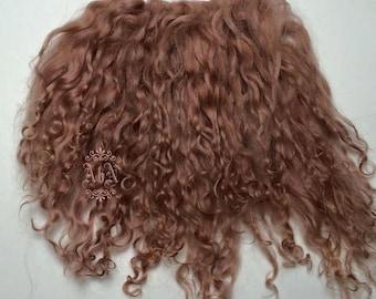 Tibetan Lamb Hair - Strawberry Blonde - S piece RBLO - For Art Dolls OOAK