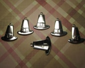 Pilgrim Hat Thanksgiving Charms SILVER TONE Findngs /Mixed Media Art/Collage/Craft on Etsy x 6