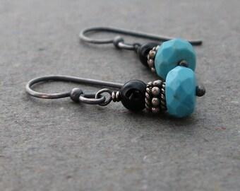 Turquoise Earrings Black Onyx Earrings Gemstone Drop Earrings Oxidized Sterling Silver Earrings