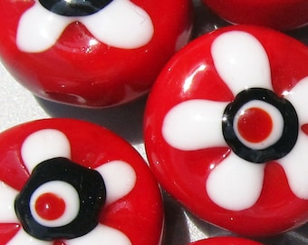 Red, White and Black Flower Power Patties--Handmade Lampwork Beads