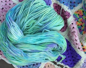 Hand Painted Pure Wool  - 16ply in mermaid colours 200gms *knitting *weaving *crochet