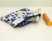 MINI. Navy blue dots credit card zipper pouch. Triangles with mint and yellow coin purse.  -Ready To Ship. royal blue and teal geometric