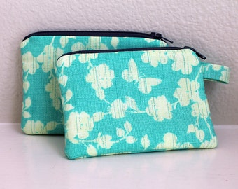 Mini zipper pouch, Butterfly coin purse, Credit card wallet, small zip pouch, change coin purse, earbud holder, minimalist wallet