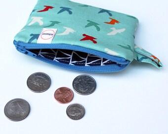 Seabird zipper pouch, Coin purse, Minimalist pocket wallet, Change purse, cash wallet, mini zipper pouch, beach bag gadget bag earbud case
