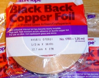 Foil for Solder Pendant Art. BLACK BACK - 1/2 Inch X Wide Copper Foil Adhesive Back Tape - by Venture 36 yard roll