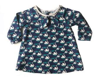 swan print long sleeve cotton Supayana dress