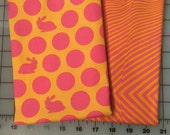 Tula Pink Fox Field Orange Pink Bunny Dots Lazy Stripes Cotton Fabric half yard bundle shereesalchemy