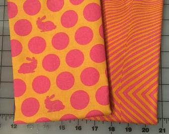 Tula Pink Fox Field Orange Pink Bunny Dots Lazy Stripes Cotton Fabric half yard bundle shereesalchemy