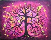 Abstract pink TREE, Original art, Original Acrylic painting by  Jordanka Yaretz