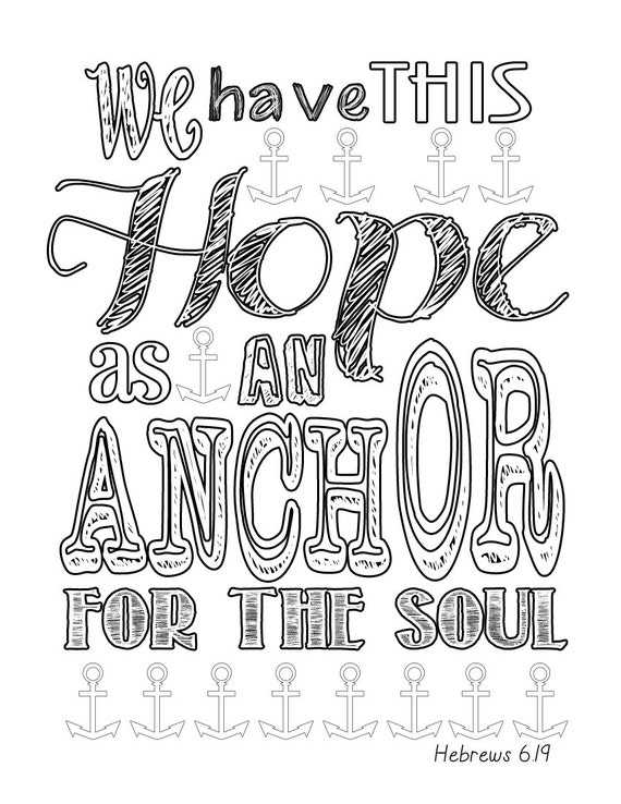 Items similar to Hebrews 6 19 Anchor Coloring Page on Etsy