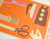 SPECIAL OFFER Retro Hobbies and Pastimes A3 Poster Print - Dressmaking and Sewing
