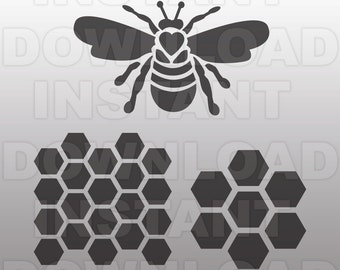 Queen Bee SVG File-Honeycomb SVG-Bee svg file-Cutting Template-Vector Clip Art for Commercial & Personal Use-Cricut,Cameo,Stencil,Silhouette