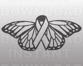 Cancer SVG File,Cancer Awareness SVG,Cancer Ribbon svg,Cancer Memorial svg,Butterfly Vector Art SVG File