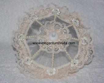 Set of 5 Mini Ivory Lace Umbrellas with Bead Trim