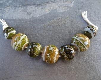 Mossy Chubby Lentils - SRA handmade glass lampwork beads Lori&Kim