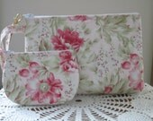 Shabby Chic Cottage Roses Wristlet  Clutch Zipper Gadget Pouch Bridesmaid Wedding set Made in USA