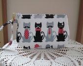 Cats with Mustaches Clutch Wristlet Zipper Gadget Pouch Camera Bag