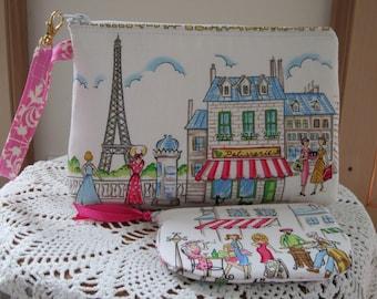 Smart phone Case Gadget Pouch Clutch Wristlet Zipper Gadget Pouch Set Cafe Rouge Paris Eiffel Tower