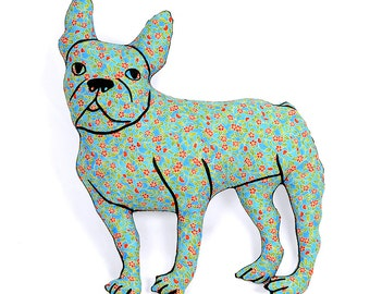 french bulldog shaped large decorative pillow blue floral fabric hand drawn plush animal softie