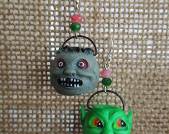 Retro Halloween Resin Monster Bucket Earrings