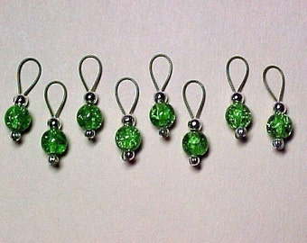 Green Crackle Glass on Khaki Wire Stitch Markers -  US 5 - Item No. 513