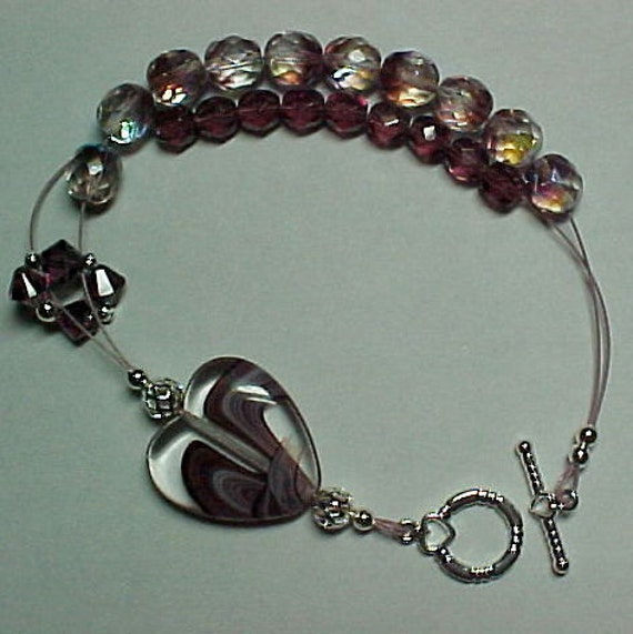 Purple Heart Abacus Row Counting Bracelet - Item No. 850
