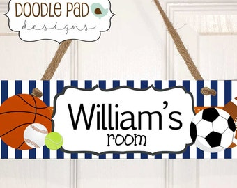 Kids Sports Door Sign Personalized