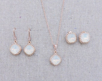 Swarovski Crystal White Opal Rose Gold Crown Post Dangling Earrings Cushion Cut Square Bridal Wedding Jewelry Necklace Set Bridesmaids Gifts