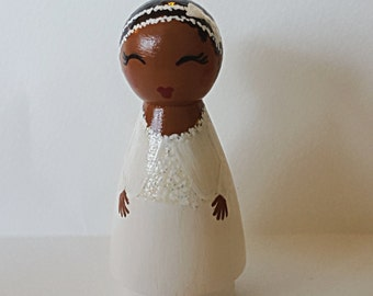Hand Painted Love Boxes Custom Girl Boy Baptism Sealing Peg Doll Portrait Wood