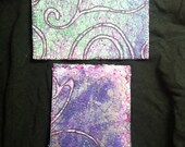 Set of 2 purple Fiber Art quilted fabric postcards OOAK original set C