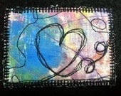 Heart ATC/ACEO Quilted Textile Fabric Stitched Painted Artist Trading Card
