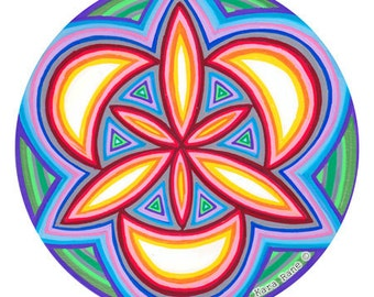 Circle Painting, Original, Handmade, Sacred Geometry, Mandala, Cosmic Sigil, Mystical, Design, Home, Bohemian, Rainbow, Neon Black light Art