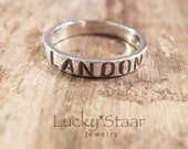 Sterling Silver Message Ring, Personalized Thumb Ring, Wedding Band or Stacking Rings, Jewelry