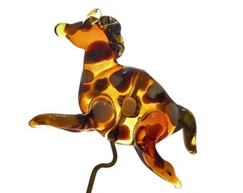 Glass 'Paint' Horse, amber handmade lampwork glass beads, miniature ornament or pendant, animal bead, glassbead, lamp work glass