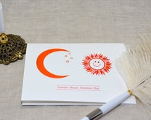 winter solstice cards, moon and sun, pre-printed