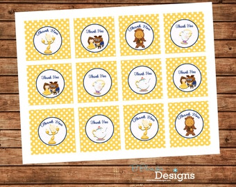 Beauty and the Beast Inspired Printable Cupcake toppers or favor tags - instant download