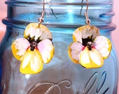 Upcycled earrings, spring flowers, summer celebrations, flower earrings, pansies, bike inner tubes,  jewelry for her, hand painted #328