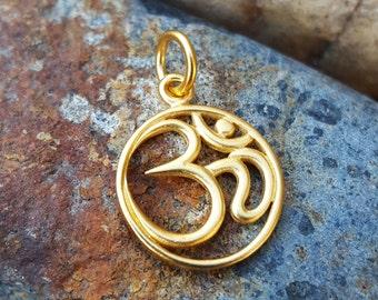 Gold Om Charm - Yoga Jewelry
