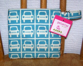 Reusable Little Snack Bag - pouch kids adults eco friendly cars exclusive fabric by PETUNIAS