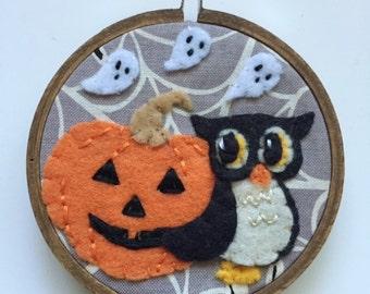 Embroidered Art Hoop - Olive Owl