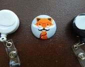 Fabric Covered Button for Clip on Retractable Badge Reel - Fox with Glasses and Mustache