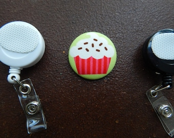 Fabric Covered Button for Clip on Retractable Badge Reel - Cupcake with Chocolate Sprinkles