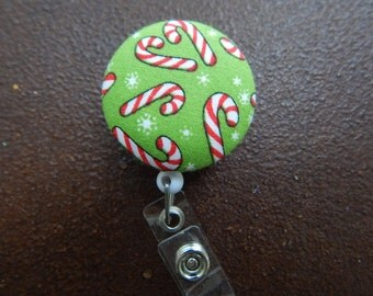 Clip on Retractable Badge Reel / Lanyard with Fabric Covered Button - Candy Canes